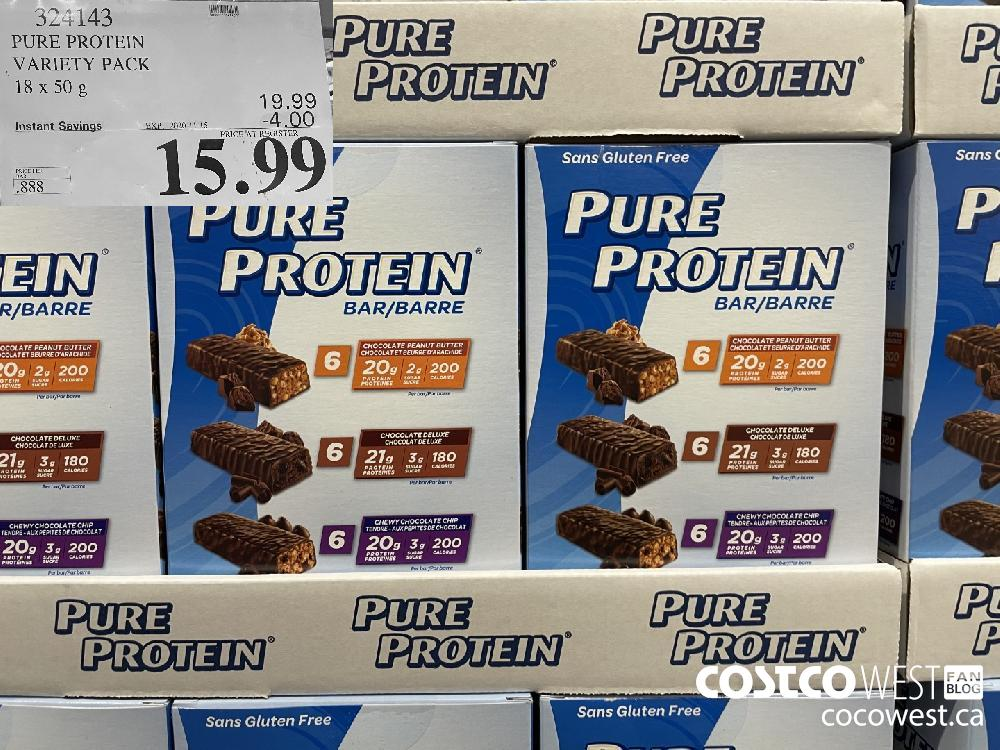324143 PURE PROTEIN VARIETY PACK F 18 x 50g EXP. 2020-11-15 $15.99