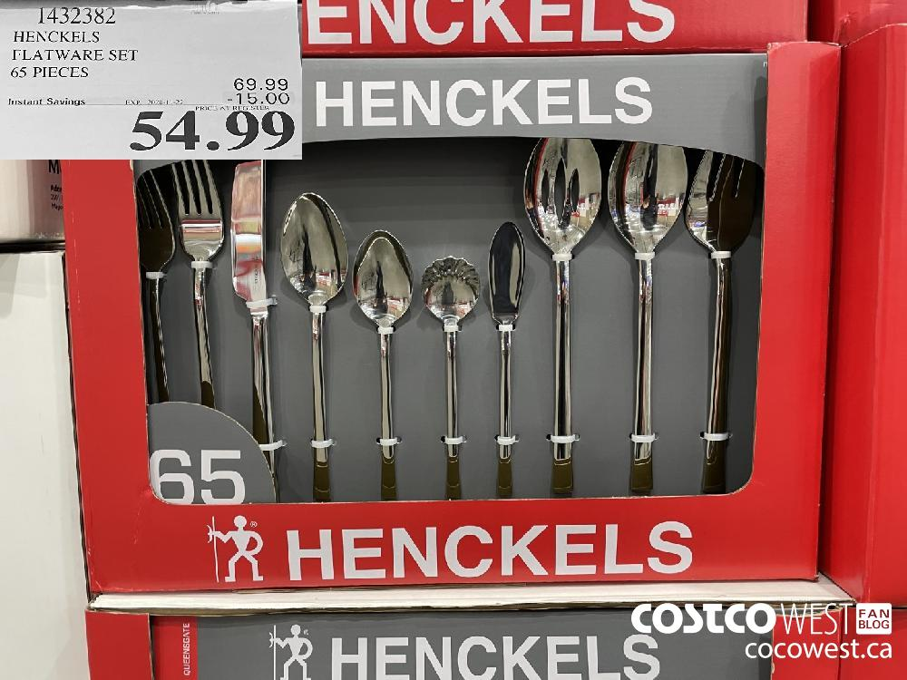 1432382 HENCKELS FLATWARE SET 65 PIECES EXP. 2020-11-22 $54.99