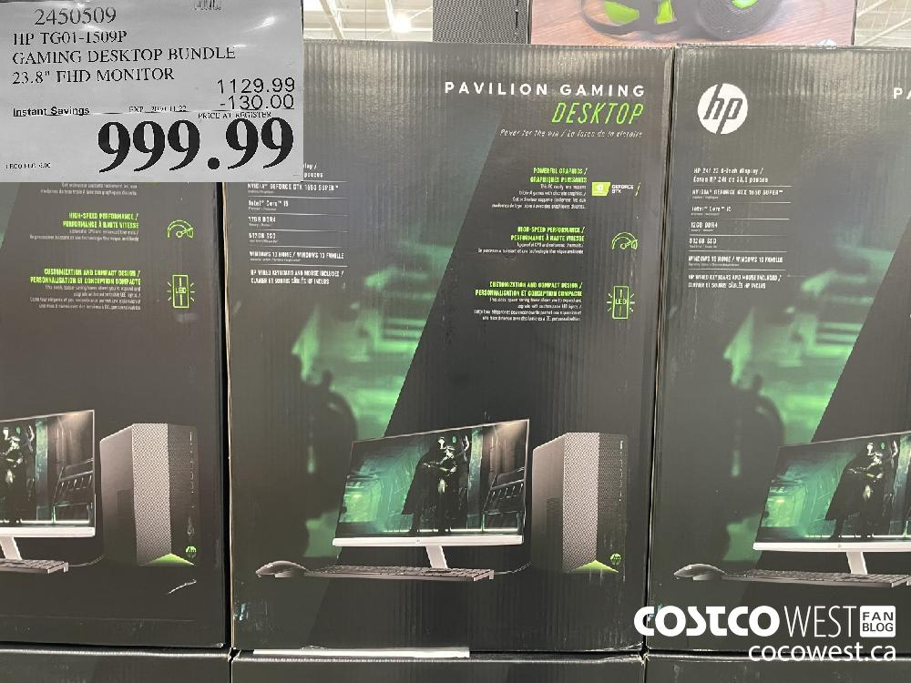 "2450509 HP TGO1-1509P GAMING DESKTOP BUNDLE 23.8"" FHD MONITOR EXP. 2020-11-22 $999.99"