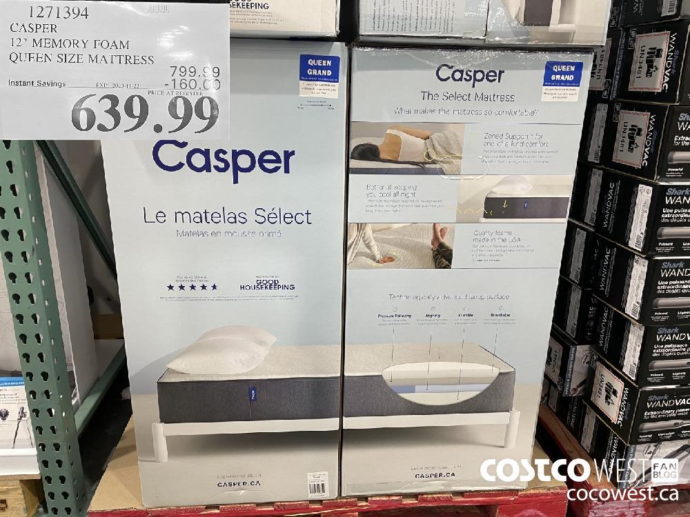 "1271394 CASPER 12"" MEMORY FOAM QUEEN SIZE MATTRESS EXP. 2020-11-22 $639.99"