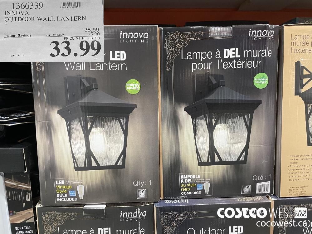 1366339 INNOVA OUTDOOR WALL LANTERN EXP. 2020-11-27 $33.99
