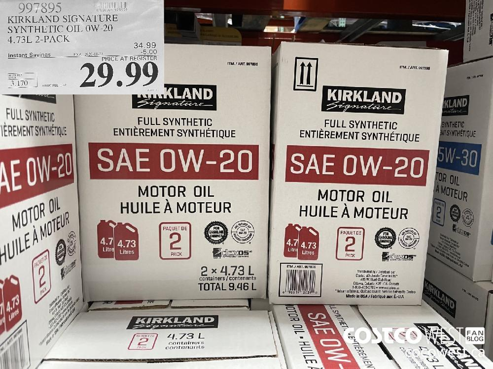 997895 KIRKLAND SIGNATURE SYNTHETIC OIL OW-20 4.73L 2-PACK EXP. 2020-11-22 $29.99