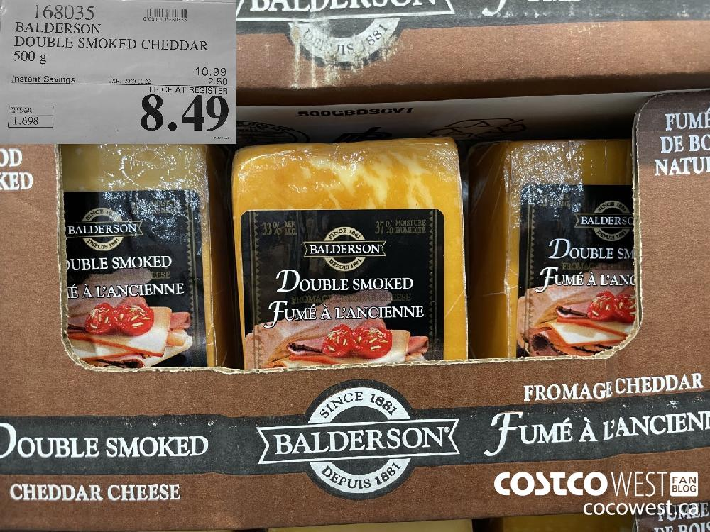 168035 BALDERSON DOUBLE SMOKED CHEDDAR 500 g EXP. 2020-11-22 $8.49