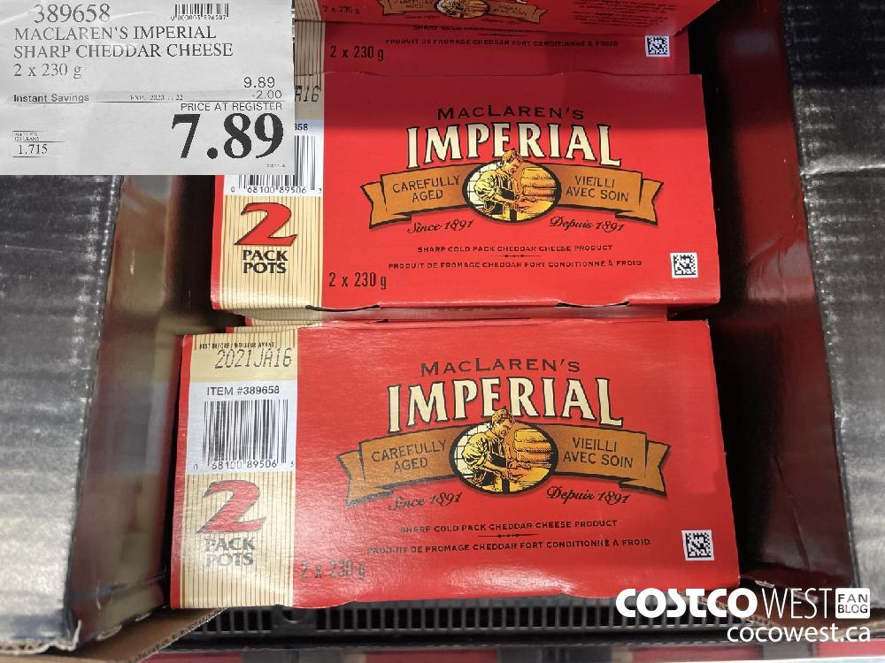389658 MACLAREN'S IMPERIAL SHARP CHEDDAR CHEESE 2 x 230g EXP. 2020-11-22 $7.89