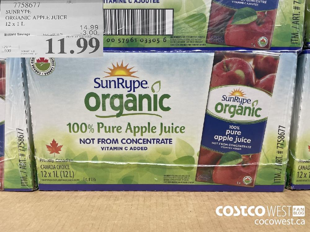 71586077 SUNRYPE ORGANIC APPLE JUICE 12 X 1 L EXP. 2020-11-29 $11.99