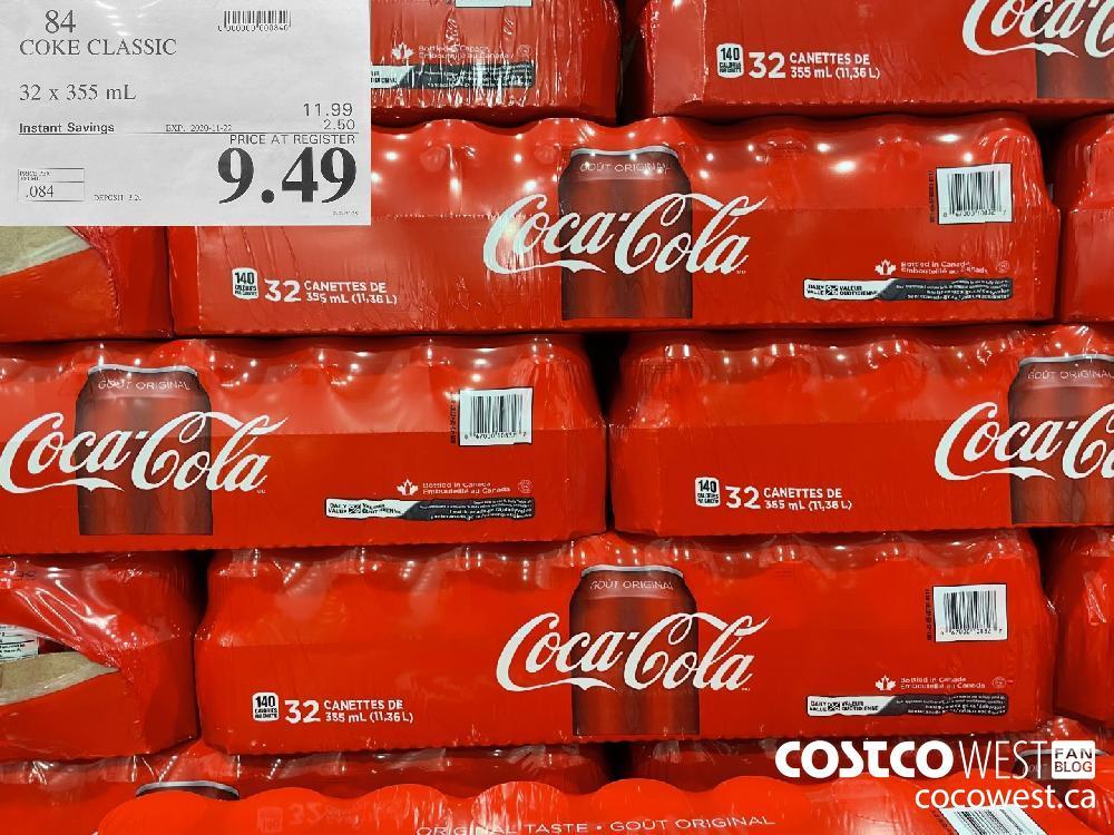 84 COKE CLASSIC 32 x 355 ml EXP. 2020-11-22 $9.49