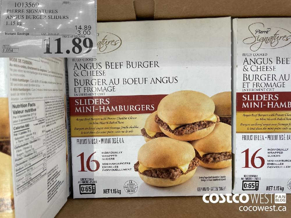 1013560 PIERRE SIGNATURES ANGUS BURGER SLIDERS 1.15 kg EXP. 2020-11-29 $11.89