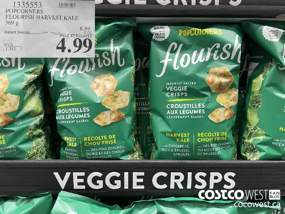1335553 POPCORNERS FLOURISH HARVEST KALE 369 g EXP. 2020-11-22 $4.99