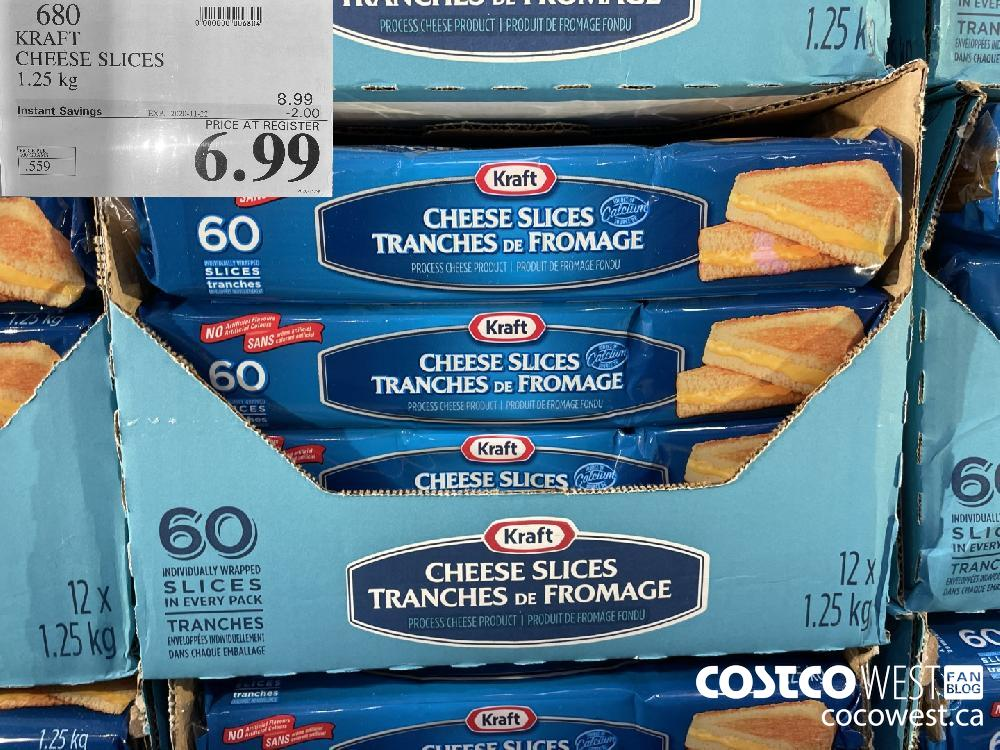 680 KRAFT CHEESE SLICES 1.25 kg EXP. 2020-11-22 $6.99