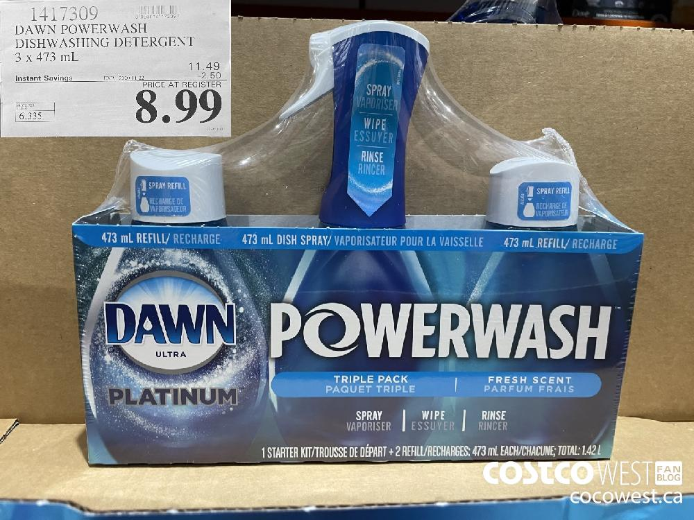 1417309 DAWN POWERWASH DISHWASHING DETERGENT 3 x 473 mL EXP. 2020-11-22 $8.99