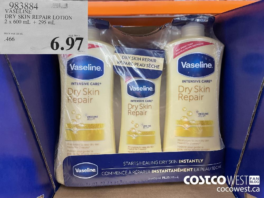 983884 VASELINE DRY SKIN REPAIR LOTION 2 x 600 mL 295 mL $6.97