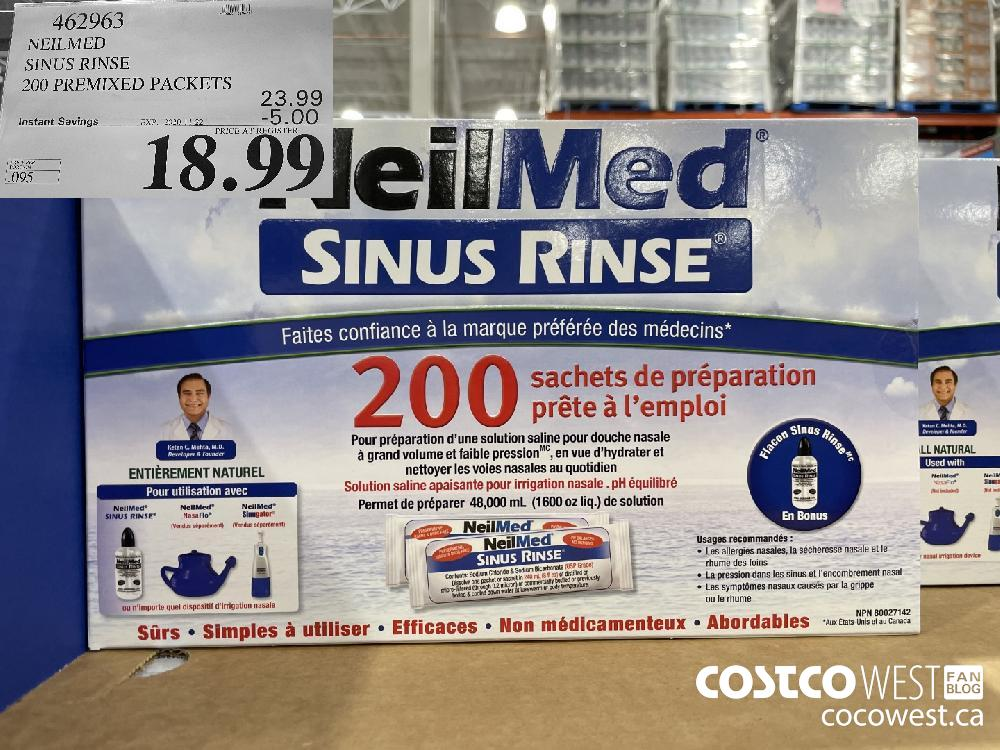 462963 NEILMED SINUS RINSE 200 PREMIXED PACKETS EXP. 2020-11-22 $18.99