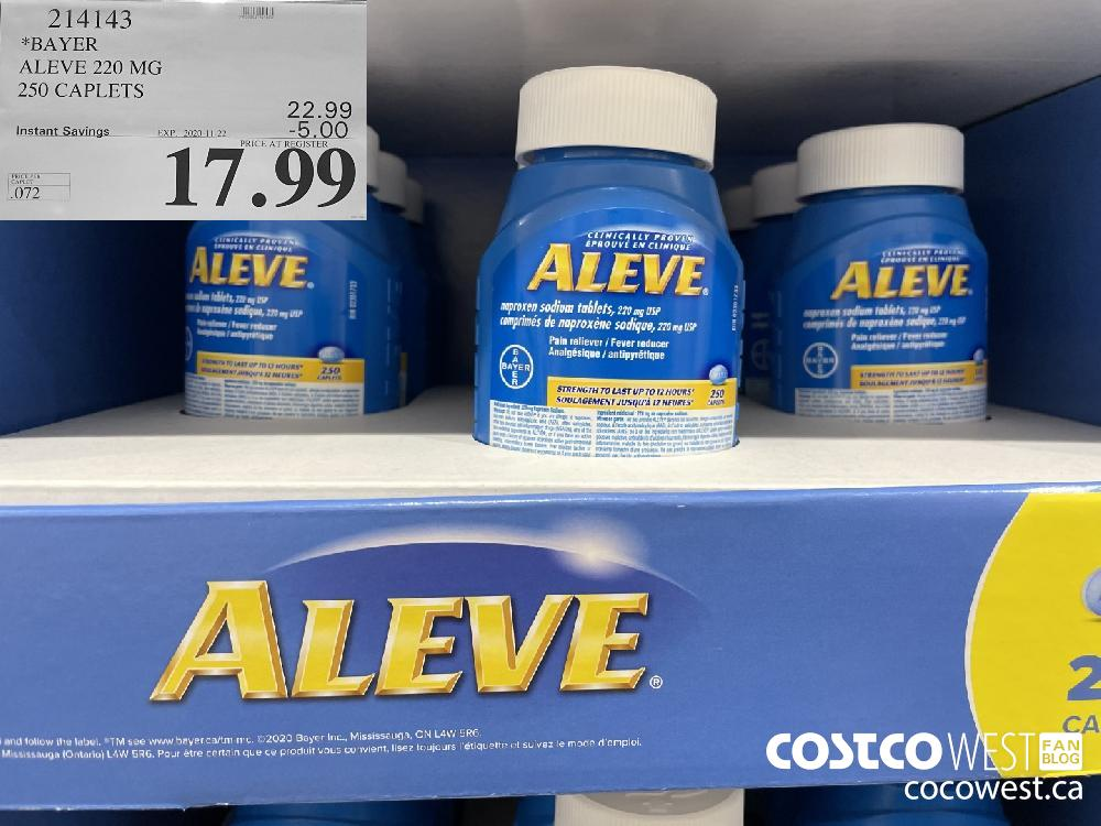 214143 *BAYER ALEVE 220 MG 250 CAPLETS EXP. 2020-11-22 $17.99