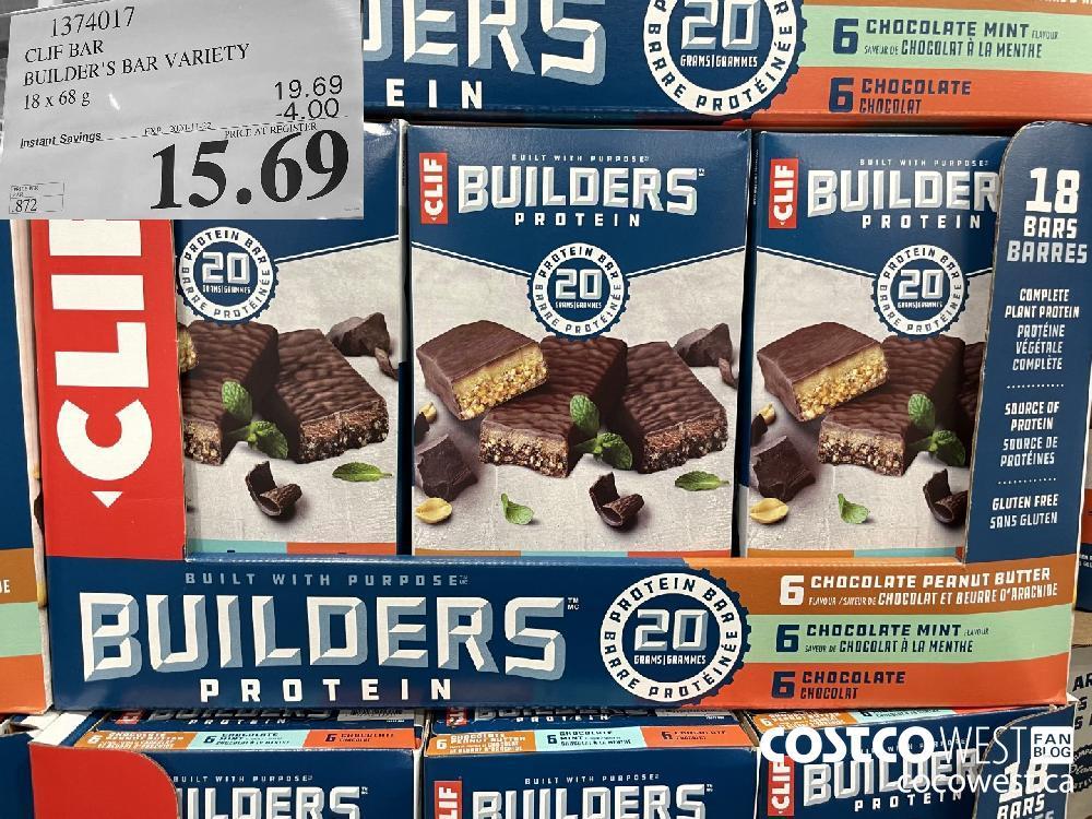 1374017 CLIF BAR BUILDER'S BAR VARIETY 18 x 68 g EXP. 2020-11-22 $15.69