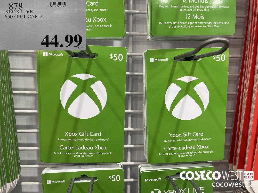 878 XBOX LIVE $50 GIFT CARD $44.99