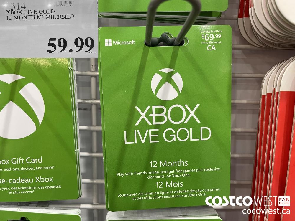 314 XBOX LIVE GOLD 12 MONTH MEMBERSHIP $59.99