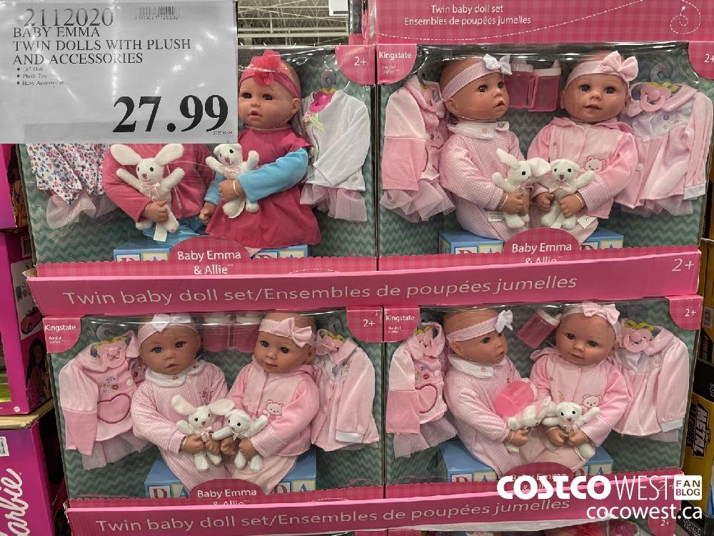 2112020 BABY EMMA TWIN DOLLS WITH PLUSH AND ACCESSORIES $27.99