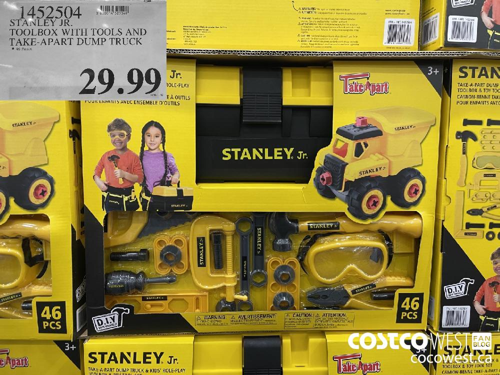 1452504 STANLEY JR. TOOLBOX WITH TOOLS AND TAKE-APART DUMP TRUCK $29.99