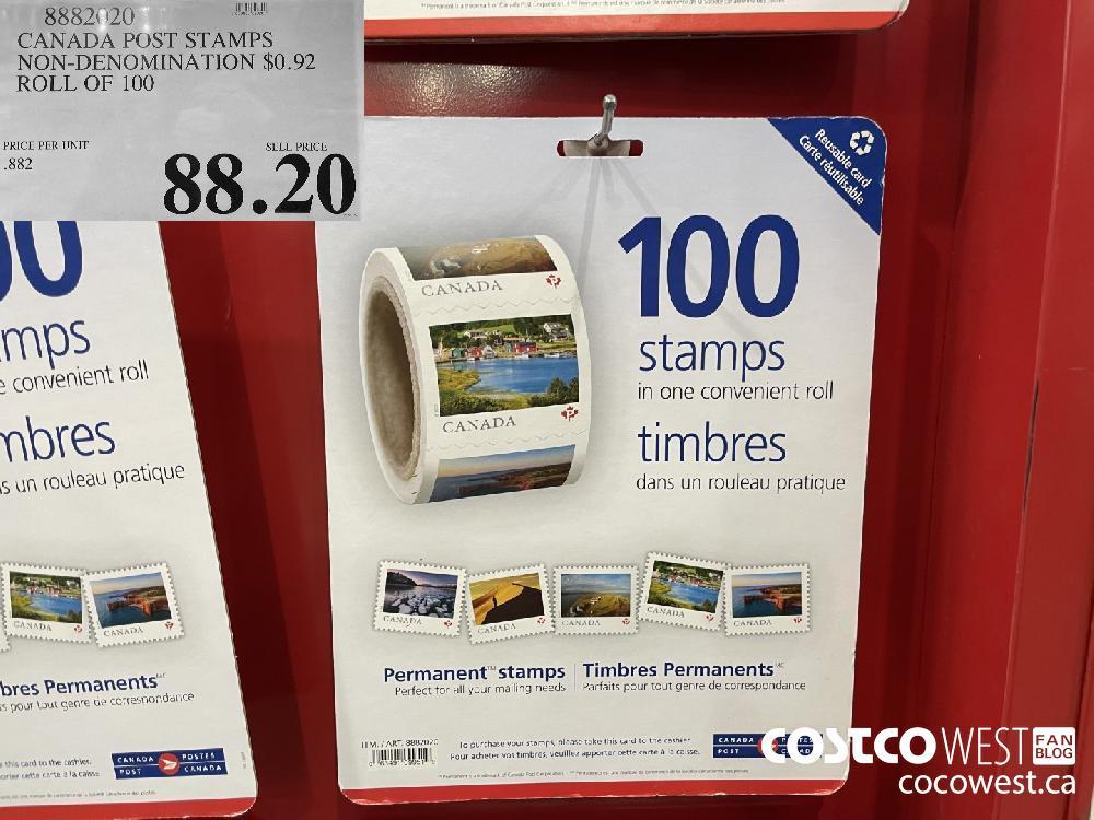 8882020 CANADA POST STAMPS NON-DENOMINATION $0.92 ROLL OF 100 $88.90