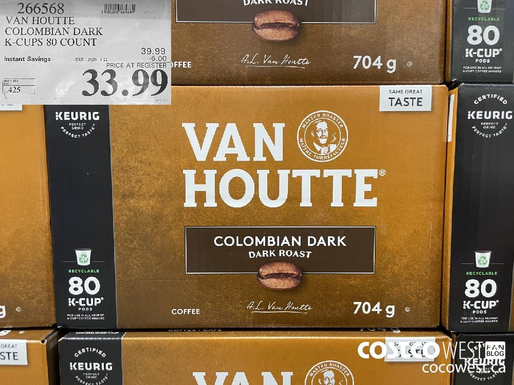 266568 VAN HOUTTE COLOMBIAN DARK K-CUPS 80 COUNT EXP. 2020-11-22 $33.99