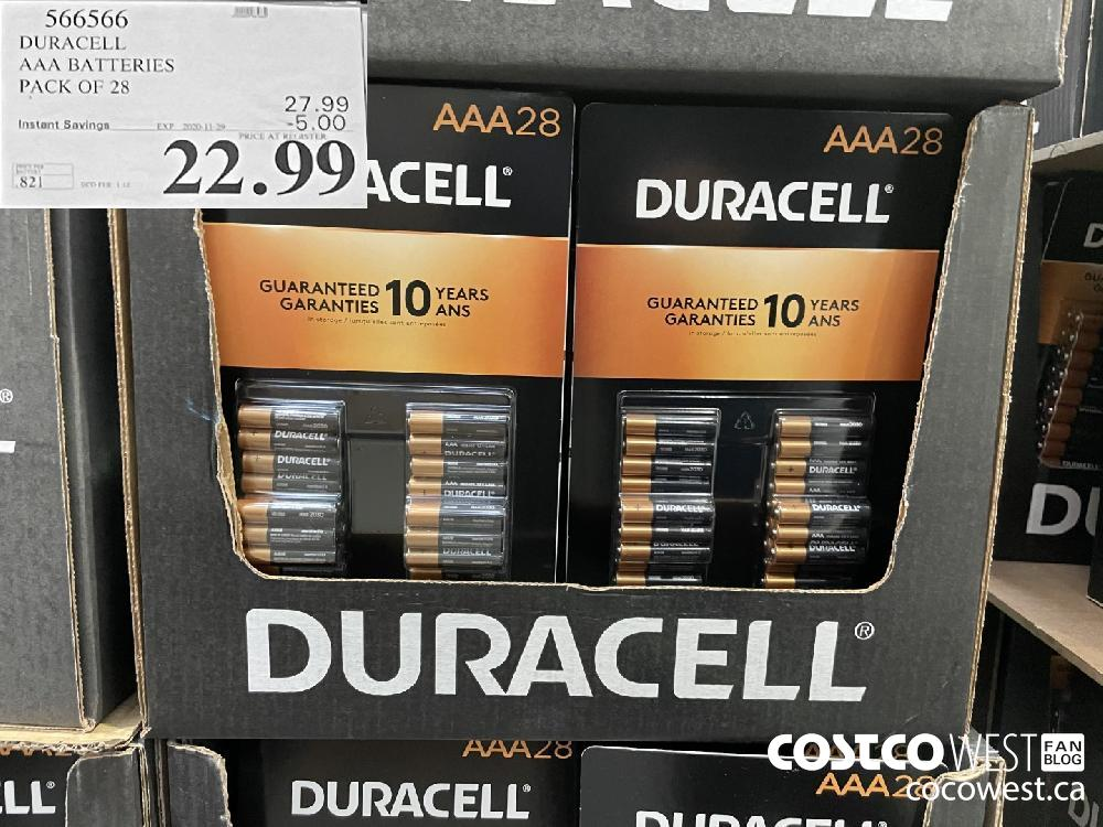 566566 DURACELL AAA BATTERIES PACK OF 28 EXP. 2020 11-29 $22.99