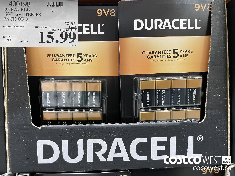 "400198 'DURACELL ""9V"" BATTERIES PACK OF 8 EXP. 2020-11-29 $15.99"