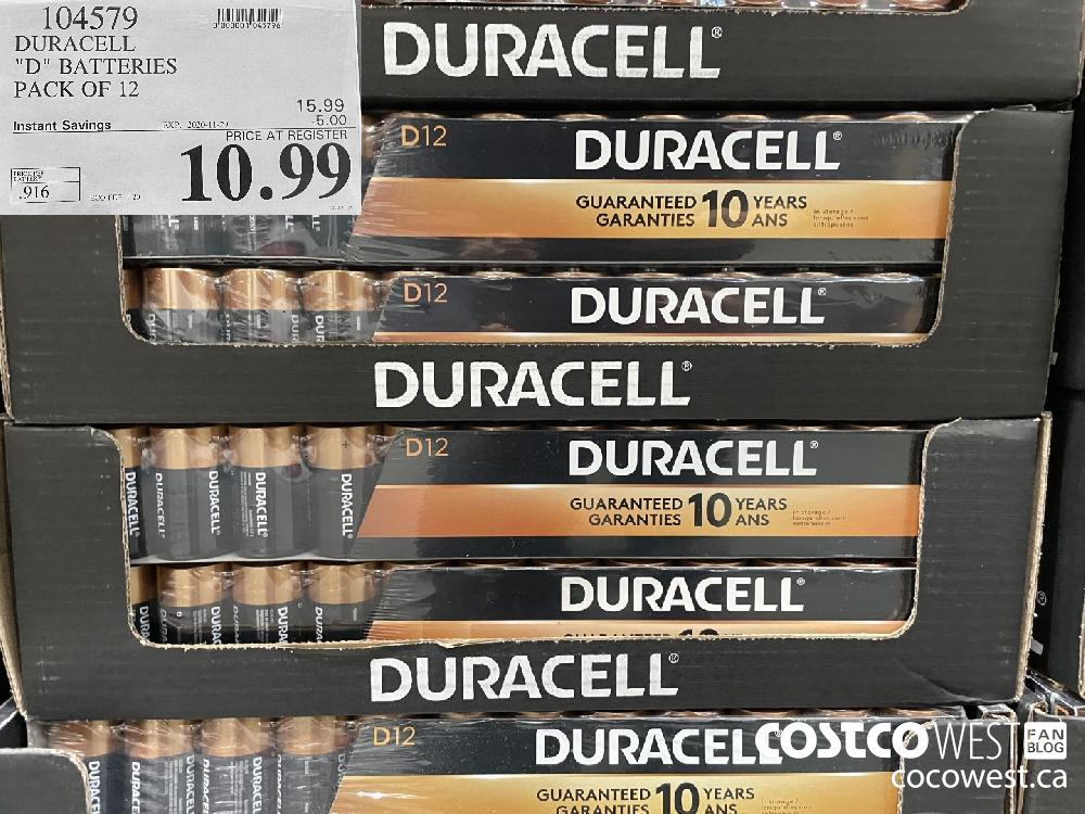 "104579 DURACELL ""D"" BATTERIES PACK OF 12 EXP. 2020-11-29 $10.99"