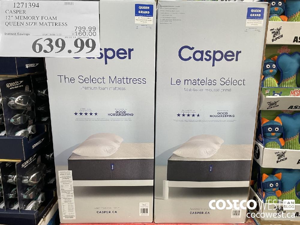 "1271394 CASPER 12"" MEMORY FOAM QUEEN SIZE MATTRESS EXP. 2020 11-22 $639.99"