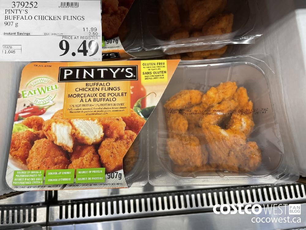 379252 PINTY'S BUFFALO CHICKEN FLINGS 907 g EXP. 2020 11-22 $9.49