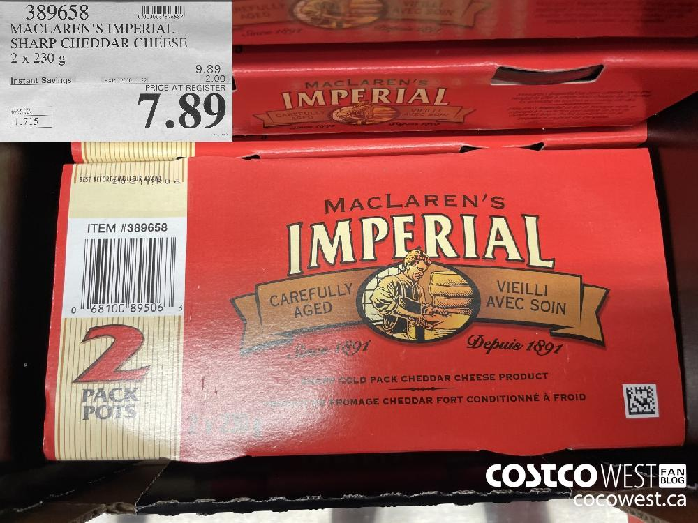 389658 MACLAREN'S IMPERIAL SHARP CHEDDAR CHEESE 2 x 230 g EXP. 2020-11-22 $7.89