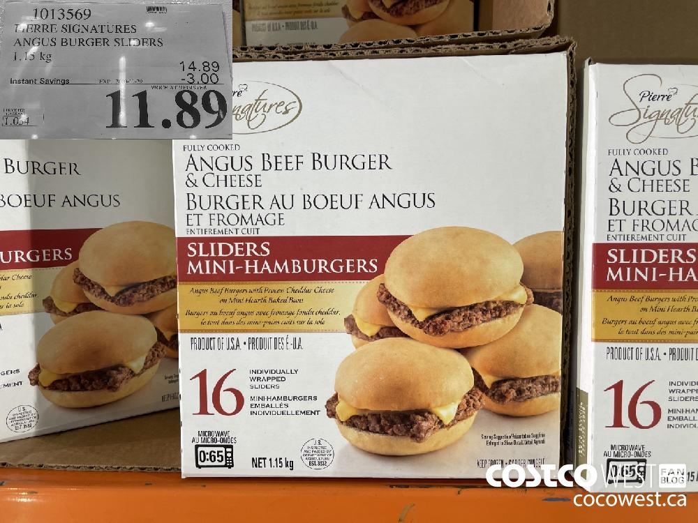 1013569 PIERRE SIGNATURES ANGUS BURGER SLIDERS 1.15 kg EXP. 2020 11-29 $11.89