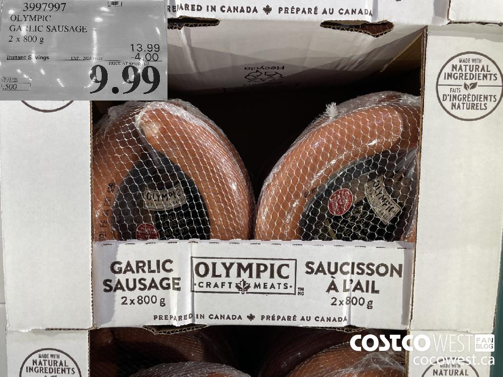 3997997 OLYMPIC GARLIC SAUSAGE 2 x 800 g EXP. 2020 11-22 $9.99