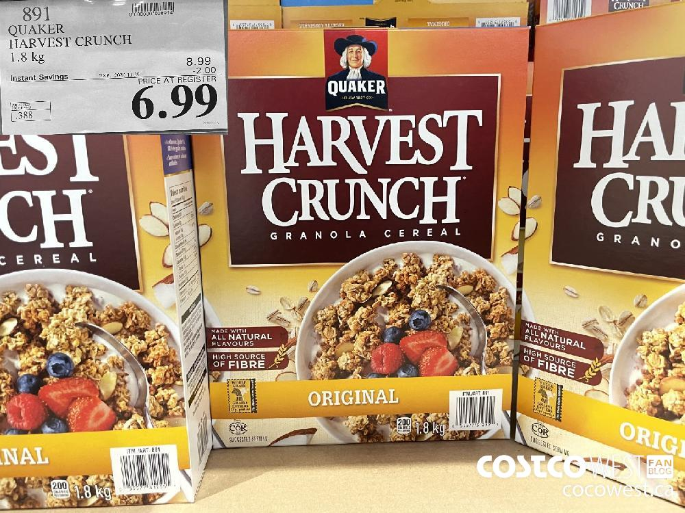 891 QUAKER HARVEST CRUNCH 1.8 kg EXP. 2020-11-29 $6.99