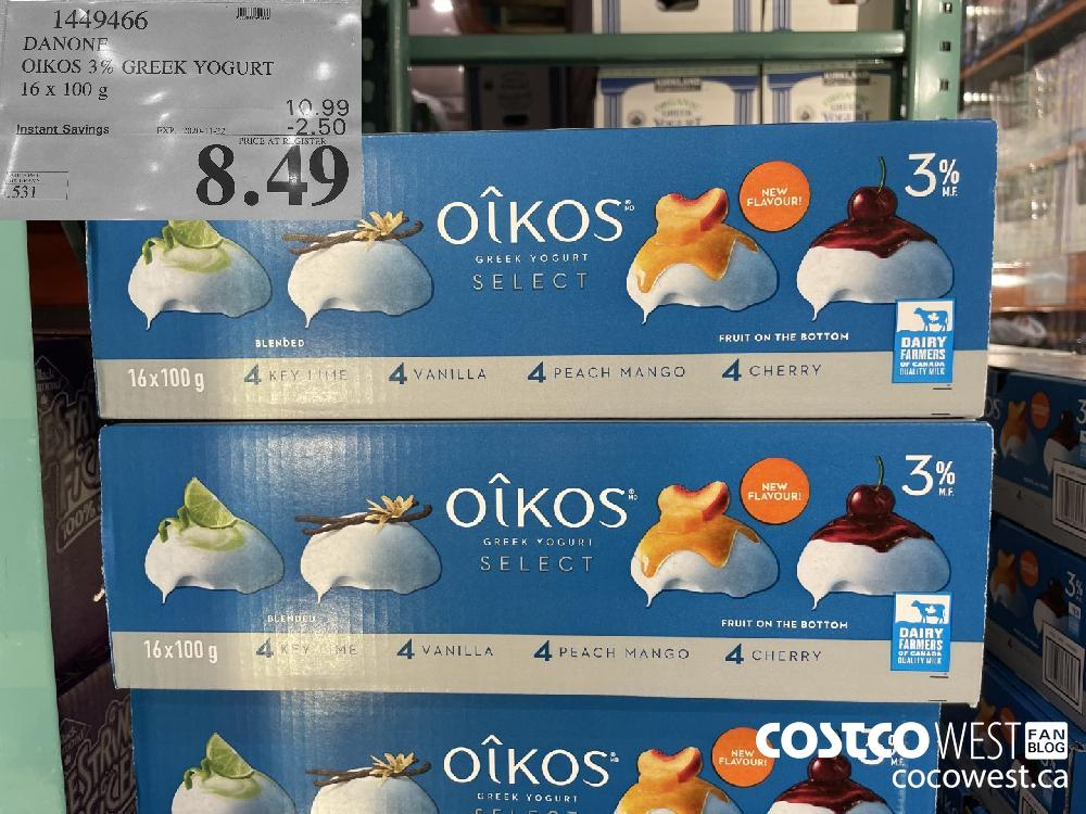 1449466 DANONE OIKOS 3% GREEK YOGURT 16 x 100g EXP. 2020-11-22 $8.49