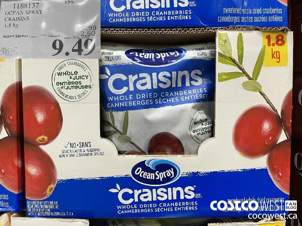 1188137 OCEAN SPRAY CRAISINS 1.8 kg EXP. 2020-12-06 $9.49
