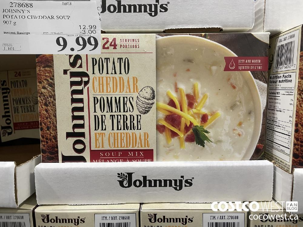 278688 JOHNNY'S POTATO CHEDDAR SOUP 907 g EXP. 2020-11-22 $9.99