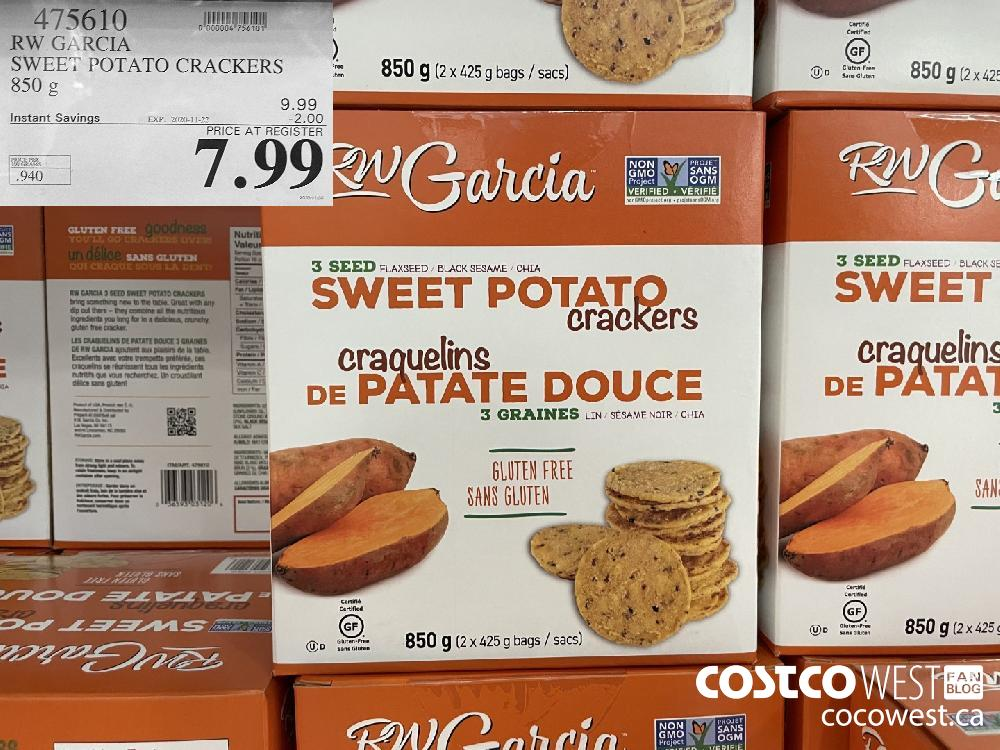 75610 RW GARCIA SWEET POTATO CRACKERS 850 g EXP. 2020-11-22 $7.99