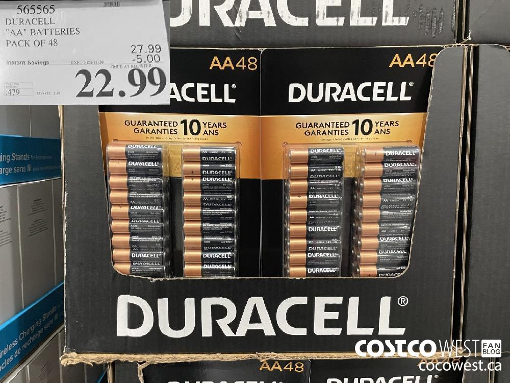 """565565 DURACELL """"AA"""" BATTERIES PACK OF 48 EXP. 2020-11-29 $22.99"""