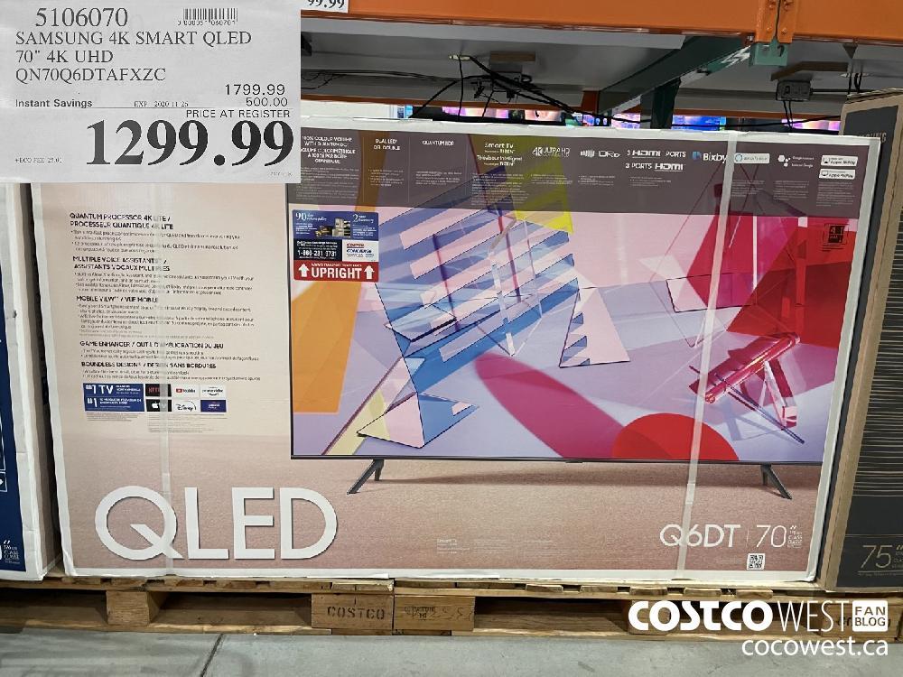"""5106070 SAMSUNG 4K SMART QLED 70"""" 4K UHD QON70Q6DTAFXZC EXP. 2020-11-26 $1299.99"""