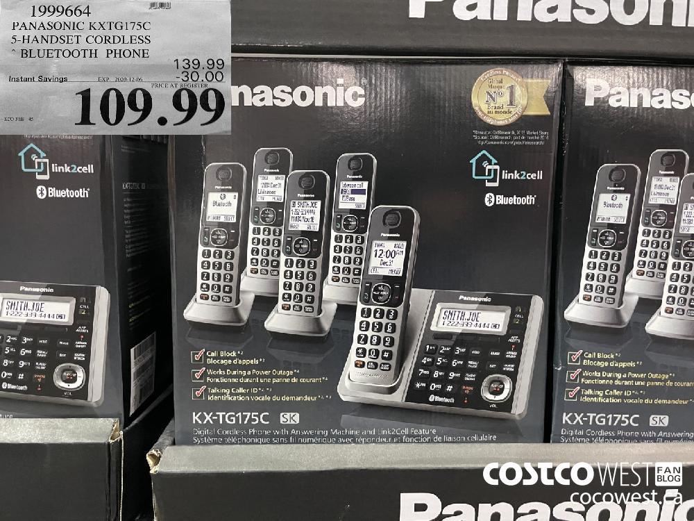 1999664 PANASONIC KXTGI175C 5S-HANDSET CORDLESS BLUETOOTH PHONE EXP. 2020-12-06 $109.99