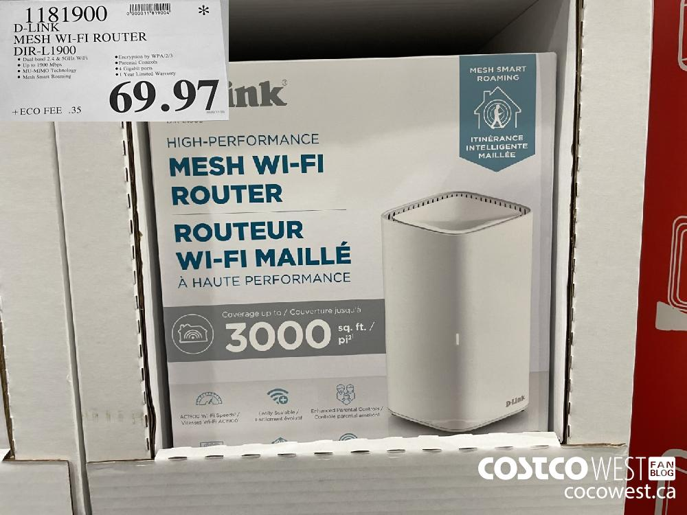1181900 D-LINK MESH WI-FI ROUTER DIR-L1900 $69.97