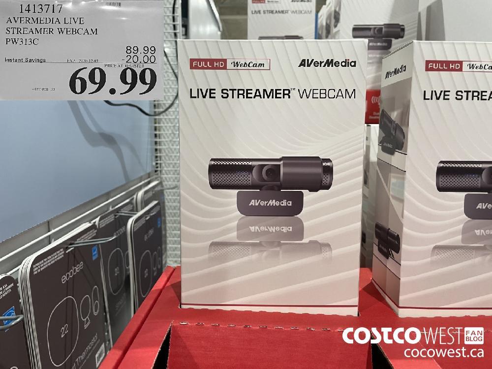 1413717 AVERMEDIA LIVE STREAMER WEBCAM PW313C EXP. 2020-12-03 $69.99