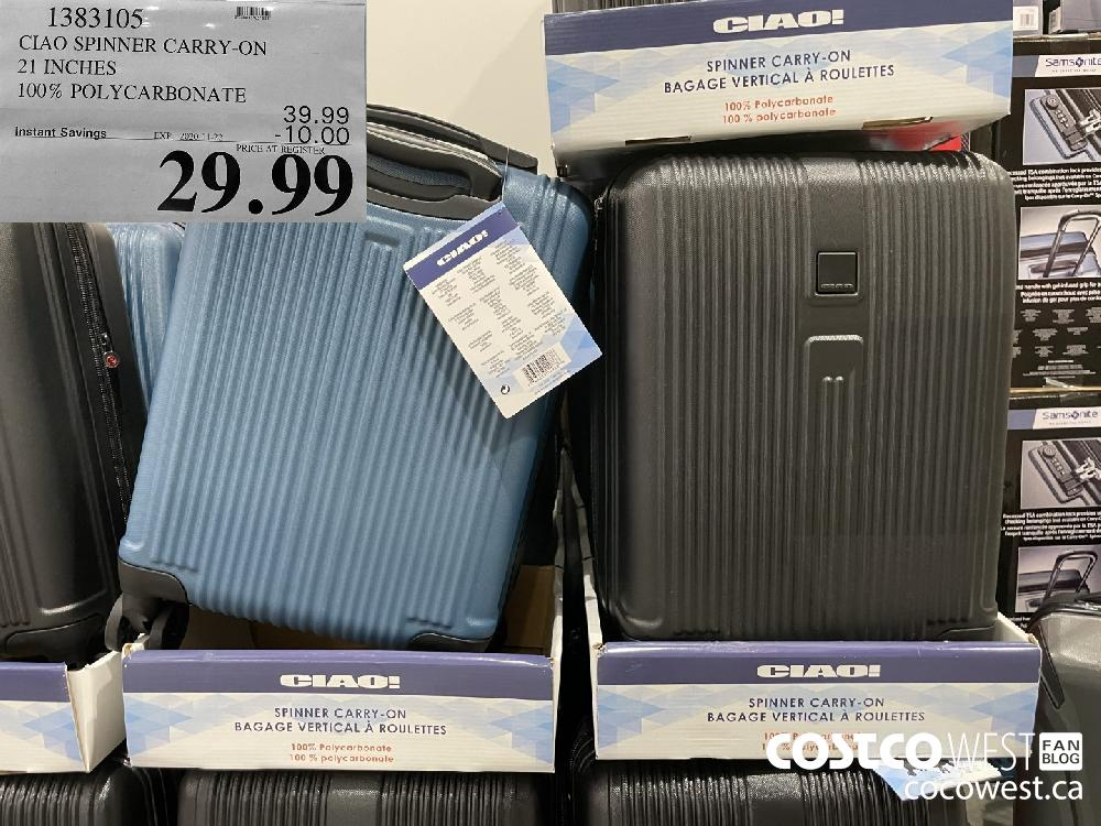 1383105 CIAO SPINNER CARRY-ON 21 INCHES 100% POLYCARBONATE EXP. 2020-11-22 $29.99