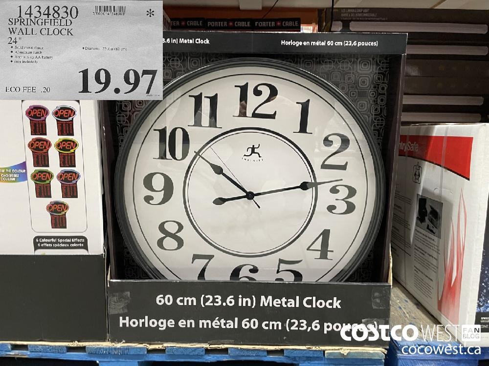 "1434830 SPRINGFIELD WALL CLOCK 24"" $19.97"