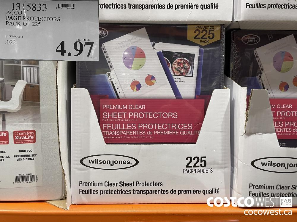 1315833 ACCO PAGE FROTECTORS PACK OF 225 $4.97