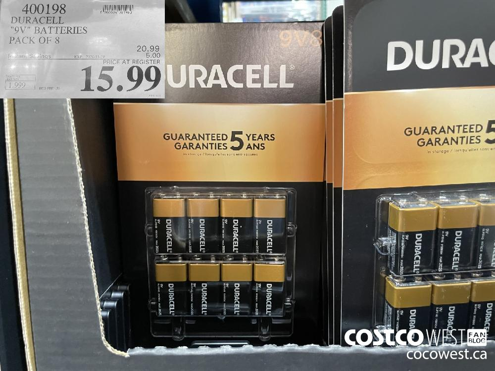 "400198 DURACELL ""9V"" BATTERIES PACK OF 8 EXP. 2020-11-29 $15.99"
