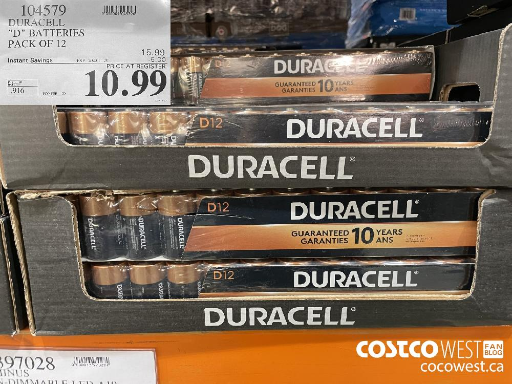 """104579 DURACELL """"D"""" BATTERIES PACK OF 12 EXP. 2020-11-29 $10.99"""