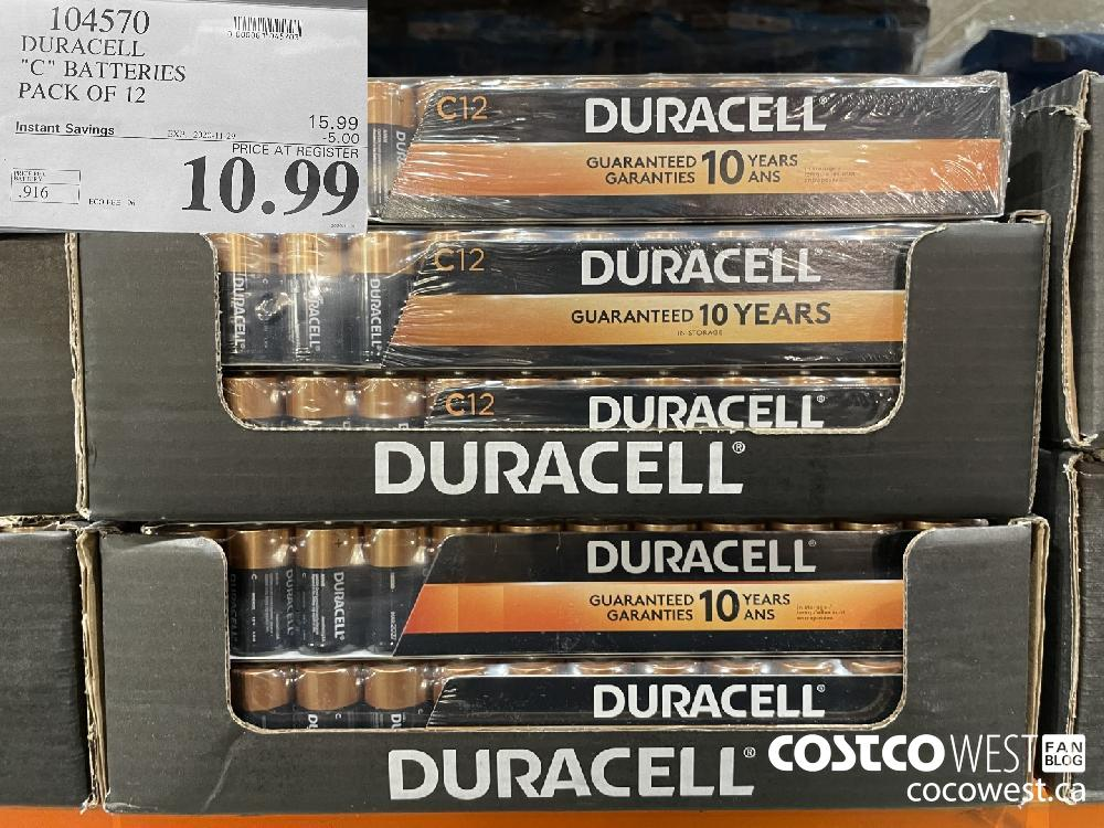 """104570 DURACELL """"C"""" BATTERIES PACK OF 12 EXP. 2020-11-29 $10.99"""