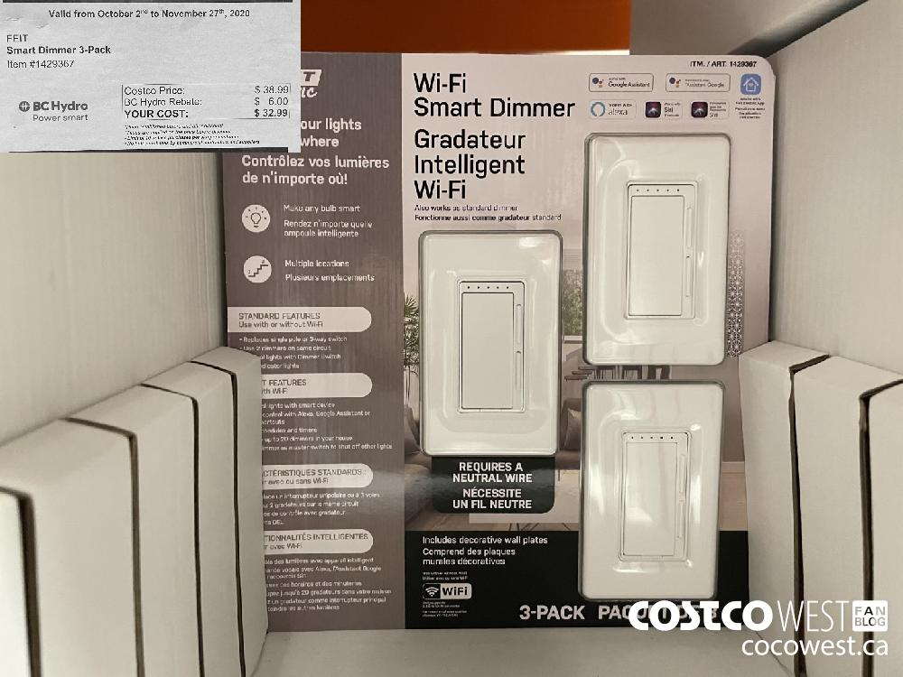 """Item #1429367 FEIT Smart Dimmer 3-Pack Valid from October 2"""" to November 27"""" 2020 YOUR COST: $ 32.99"""