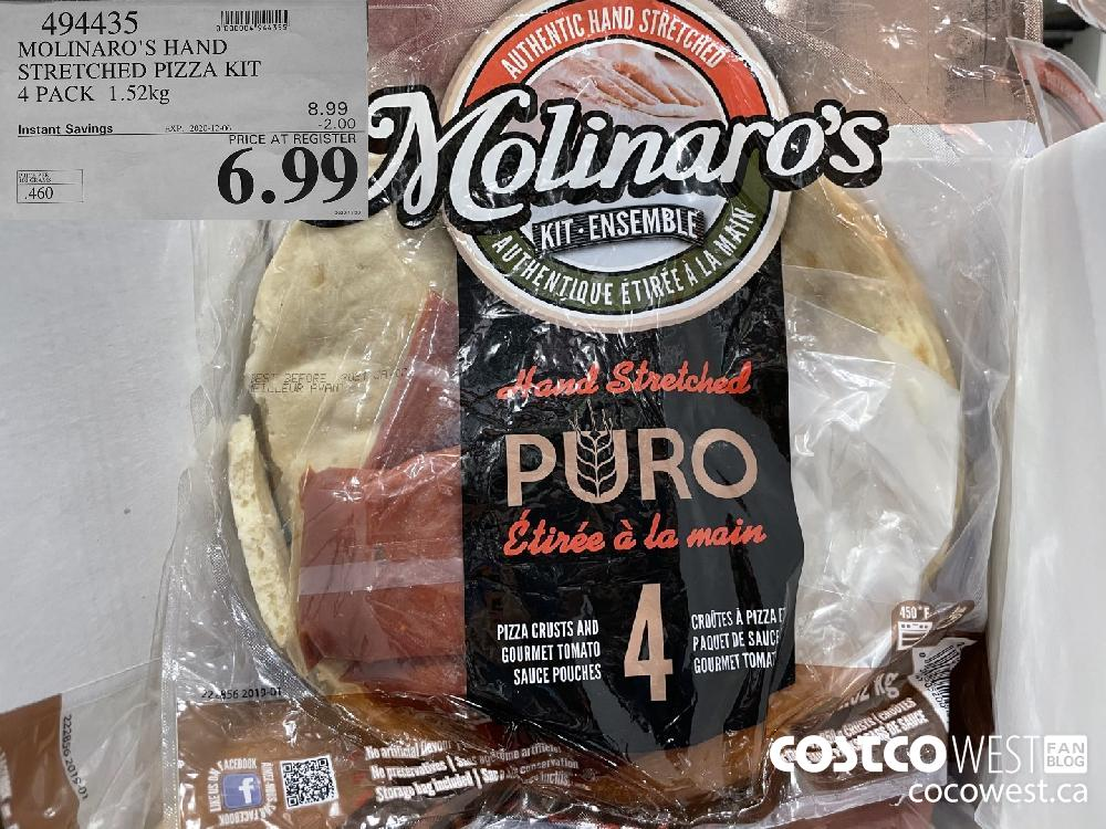 494435 MOLINARO'S HAND STRETCHED PIZZA KIT 4 PACK 1.52kg EXP. 2020-12-06 $6.99